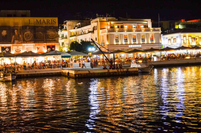 Agios Nikolaos night time Crete-1