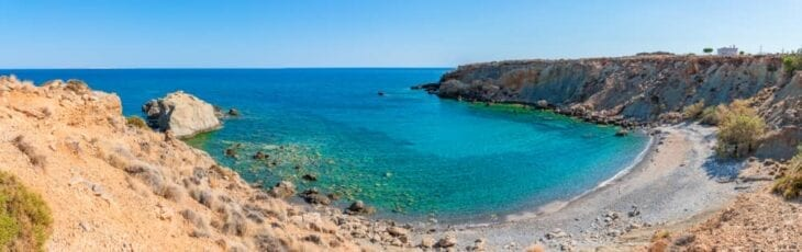 Secluded beach in Makrygialos