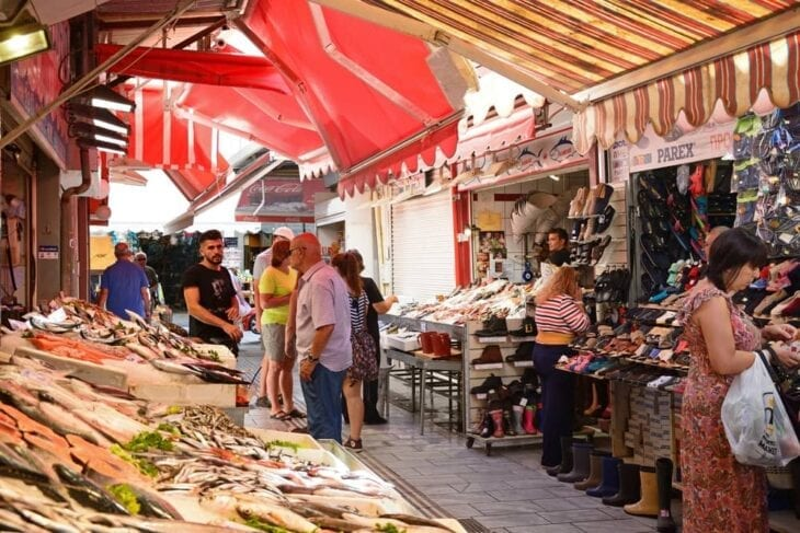 Fish stall in Central Market in Heraklion