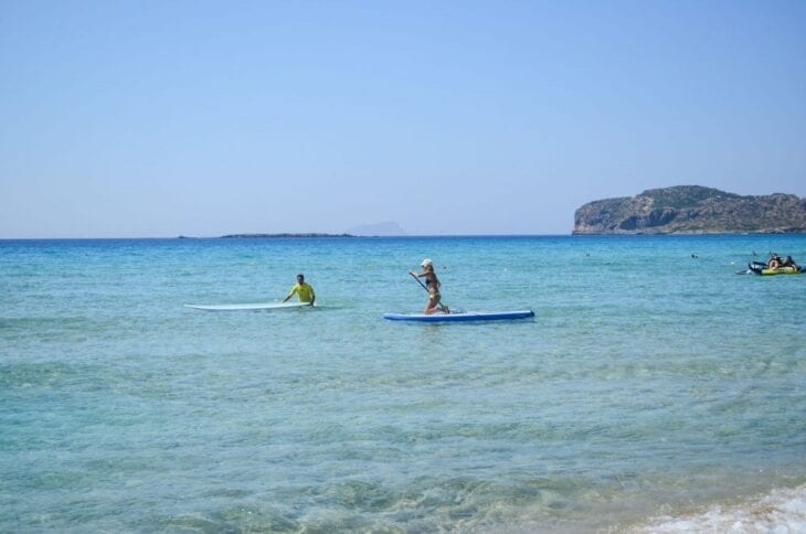 Paddling in Falasarna Beach