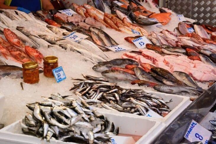 Fischstand auf dem Markt von Heraklion