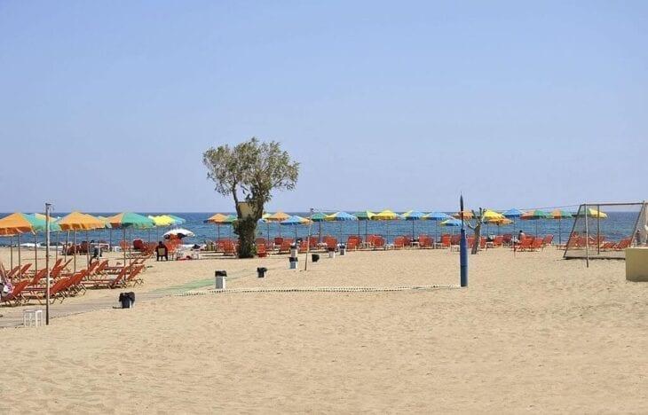 Famous sun beach in Malia