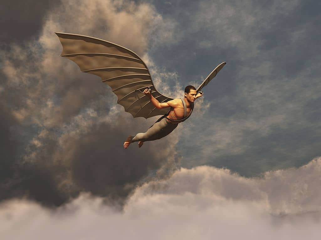 Icarus - the winged man flying