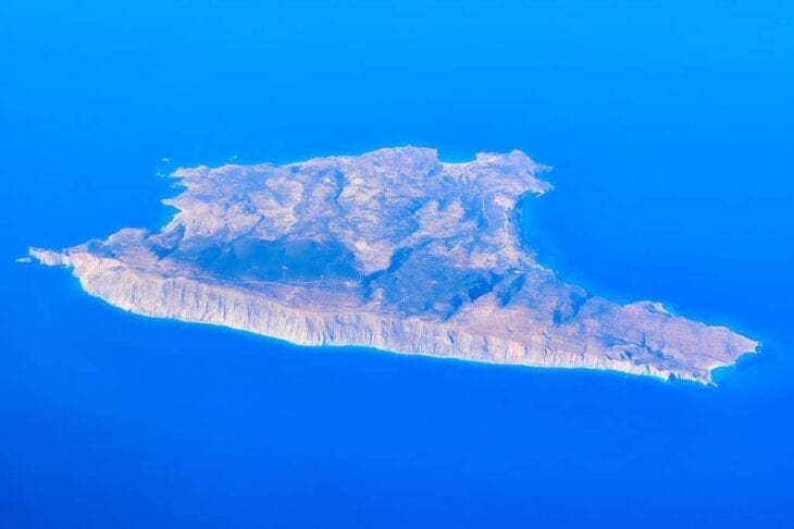 Gavdos island from the plane