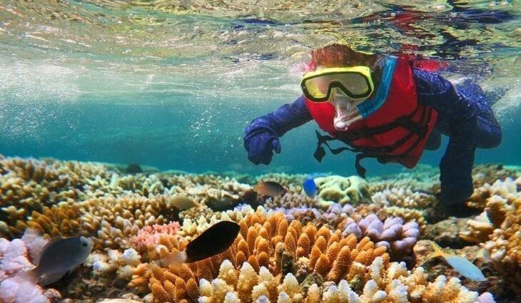 Child snorkeling in Crete