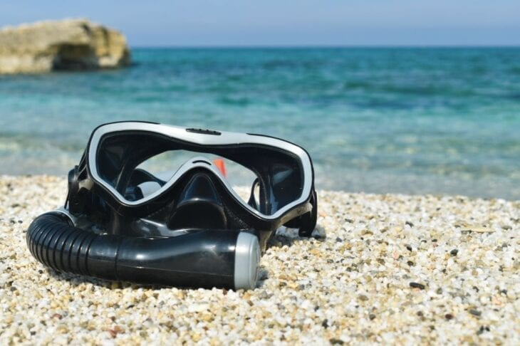 Diving Mask on the beach in Crete