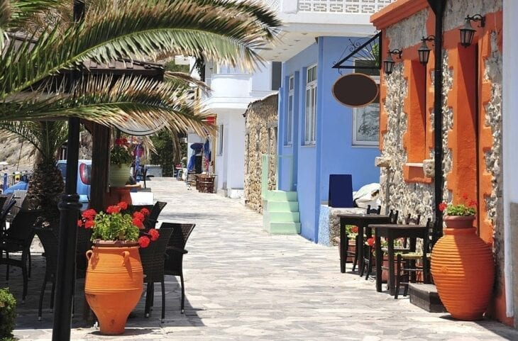 Street along the beach at Mirtos South Crete