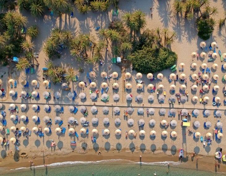 Drone shot of Vai Beach