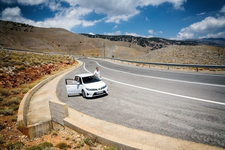 Rental Car on the road to Sfakia