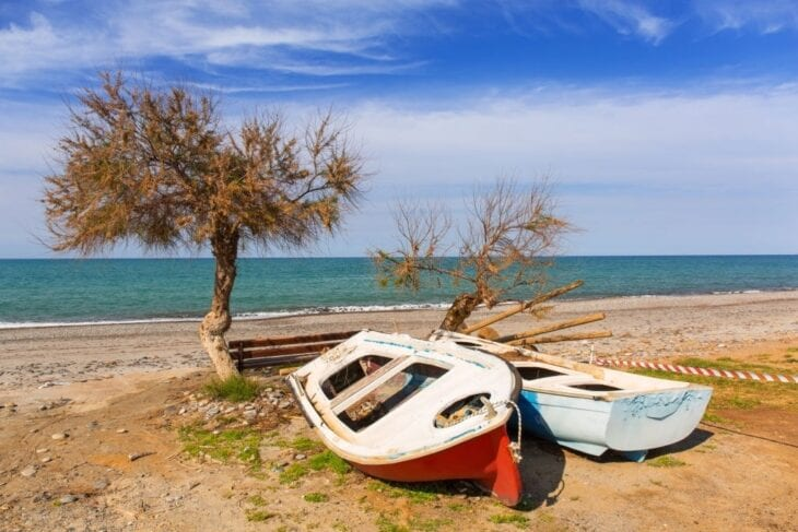 Old Boats at Maleme Beach in Crete
