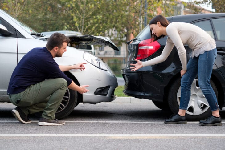 People after car rental collision