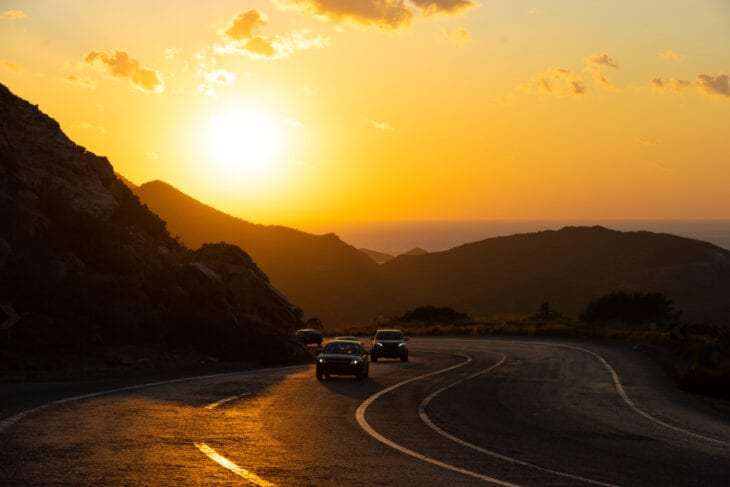 View Winding Mountain road cars