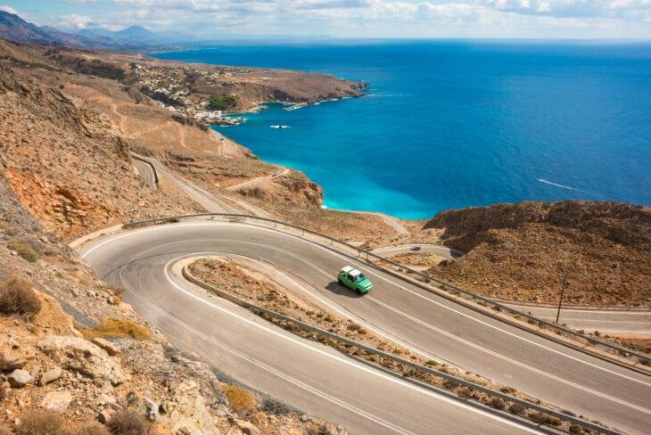 Winding Road beside sea on Crete