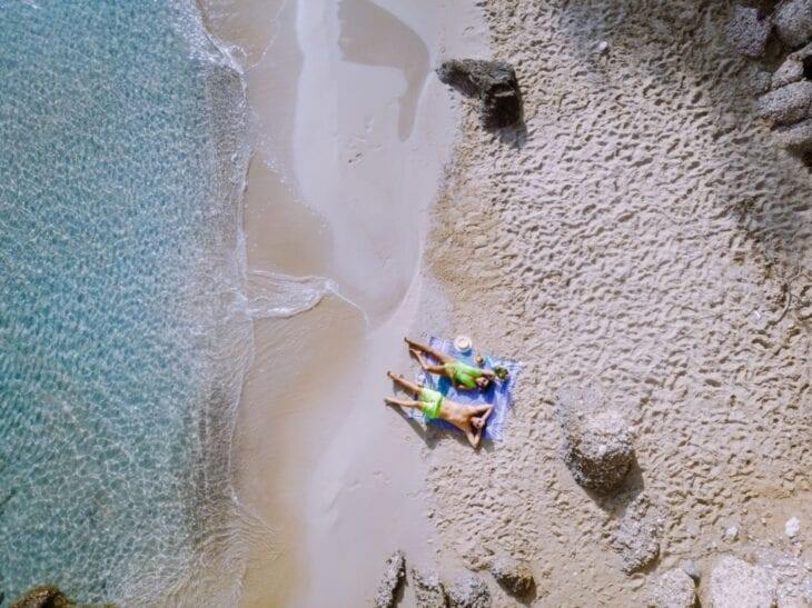 Happy couple in voulisma beach