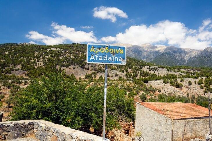 road sign at Aradena Crete