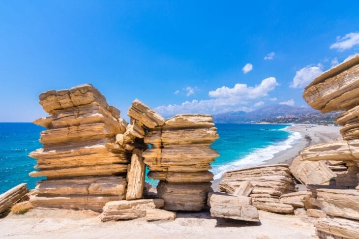 beach of Triopetra with turquoise sea in Southern Crete