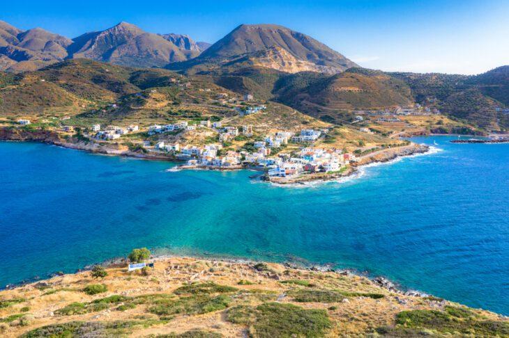 Aerial View of Mochlos Village in Crete