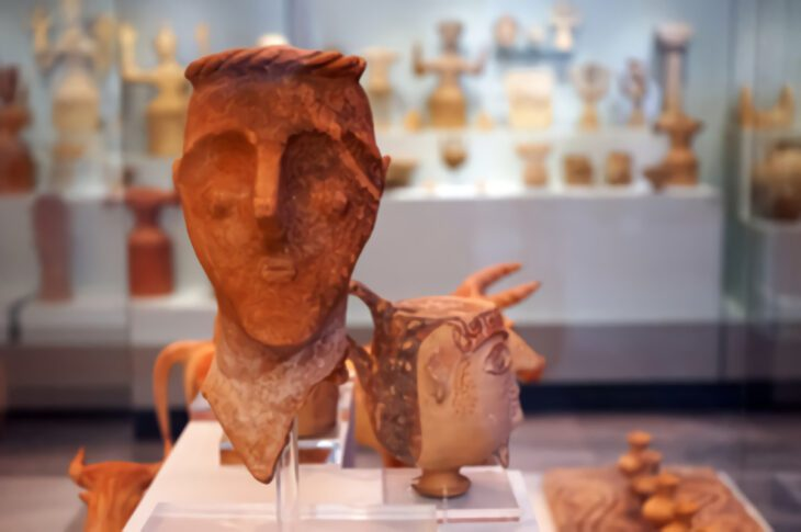 Minoal Clay heads in Heraklion Archeological Museum