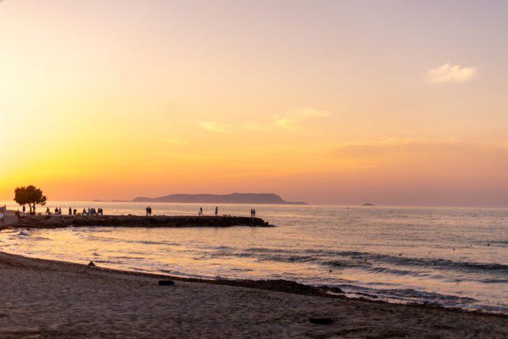 beautiful sunset on Analipsi Crete