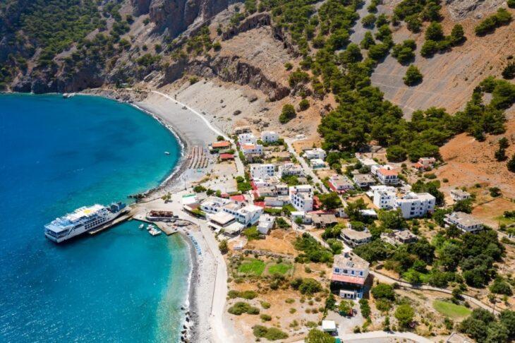 Aerial View of Agia Roumeli Village at the exit of Samaria gorge