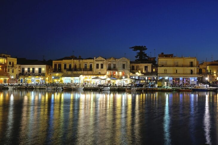 Old Venetian harbour in the evening in city of Rethymno, Crete, Greece