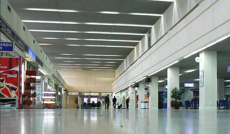 arrivals hall in chania airport
