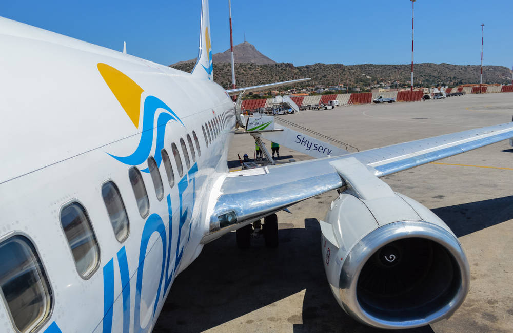 Airplane landed at Chania Airport